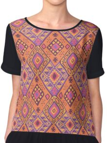 Aztec Tribal Pattern - Orange/Pink Chiffon Top