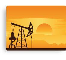 Oil Pump at Sunset Canvas Print