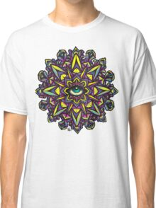Dharma Wheel Neon Mandala Classic T-Shirt