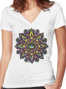 Dharma Wheel Neon Mandala Women's Fitted V-Neck T-Shirt