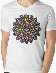 Dharma Wheel Neon Mandala Mens V-Neck T-Shirt