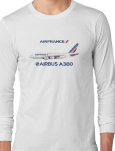 Illustration of Air France Airbus A380  Long Sleeve T-Shirt