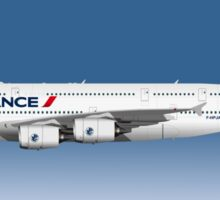 Illustration of Air France Airbus A380 - Blue Version Sticker