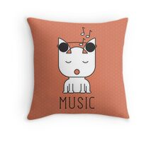Cat Music Mode Throw Pillow