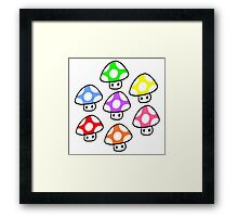 Colorful Mario Mushrooms Framed Print