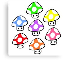 Colorful Mario Mushrooms Canvas Print