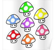 Colorful Mario Mushrooms Poster