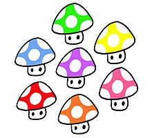 Colorful Mario Mushrooms Photographic Print
