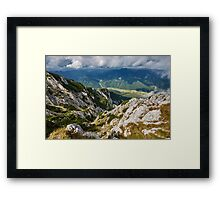Landscape with mountains and clouds Framed Print