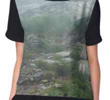 Marked trail on misty mountains Chiffon Top