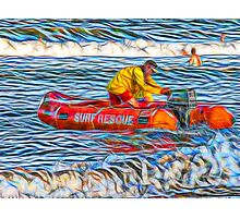 Abstract Surf Rescue boat in action Photographic Print