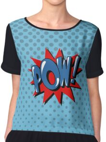 Comics Bubble with Expression Pow in Vintage Style. Chiffon Top