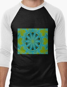 Lime Blue Abstract Men's Baseball ¾ T-Shirt