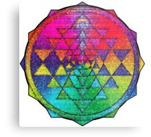 Psychedelic Rainbow Flowers Sri Yantra Metal Print