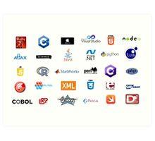 programming languages logos lenguajes programacion Art Print