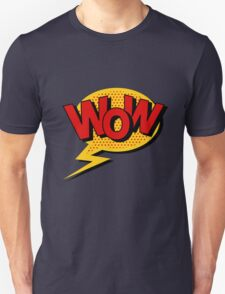 Comics Bubble with Expression Wow in Vintage Style. Unisex T-Shirt