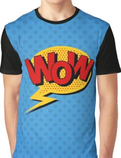 Comics Bubble with Expression Wow in Vintage Style. Graphic T-Shirt