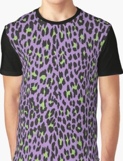 Animal Print, Spotted Leopard - Purple Green  Graphic T-Shirt