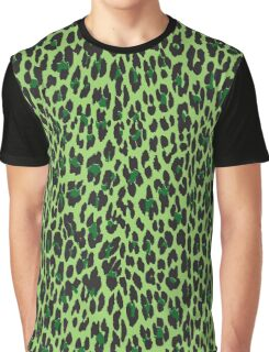 Animal Print, Spotted Leopard - Green Black  Graphic T-Shirt