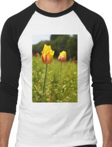 yellow and pink tulips Men's Baseball ¾ T-Shirt