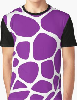 Animal Print (Giraffe Pattern) - Purple White  Graphic T-Shirt