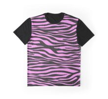 Animal Print, Zebra Stripes - Black Pink  Graphic T-Shirt