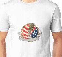 Grenade Microphone USA Flag Circle Retro Unisex T-Shirt