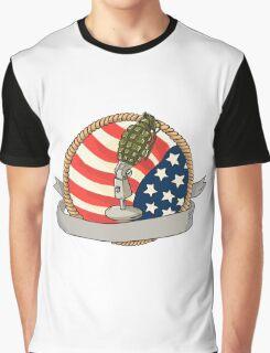 Grenade Microphone USA Flag Circle Retro Graphic T-Shirt