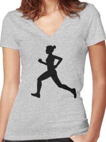 Running Girl B&W Pattern Women's Fitted V-Neck T-Shirt