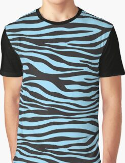 Animal Print, Zebra Stripes - Black Blue  Graphic T-Shirt