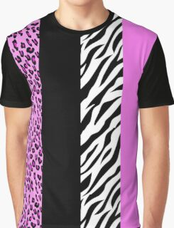 Animal Print, Zebra Stripes, Leopard Spots - Pink Graphic T-Shirt