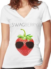 Swagberry Women's Fitted V-Neck T-Shirt