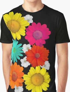 Bright Summer Flowers Daisy Mums Raspberry Orange and Yellow Bouquet Floral Botanical Colorful Graphic T-Shirt