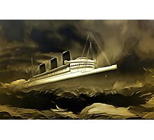 An old style digital painting of RMS Queen Mary Photographic Print