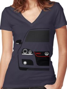 MK5 GTI Half Cut Women's Fitted V-Neck T-Shirt