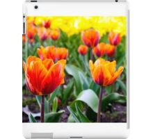red tulips on the flowerbed in the park iPad Case/Skin