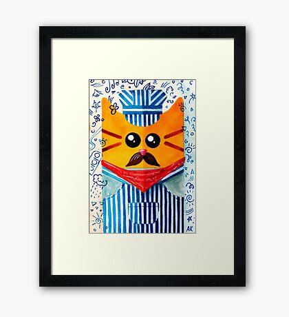 Cat Engine Driver  Framed Print