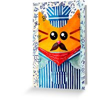 Cat Engine Driver  Greeting Card