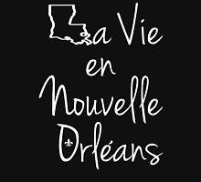 La Vie en Nouvelle Orleans (Life in New Orleans) White Text Women's Relaxed Fit T-Shirt