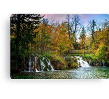 Plitvice Waterfall and lake. Canvas Print