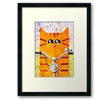 Cat on Bike Framed Print