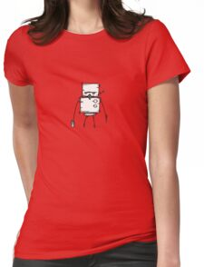 DUD the robot - white BG Womens Fitted T-Shirt