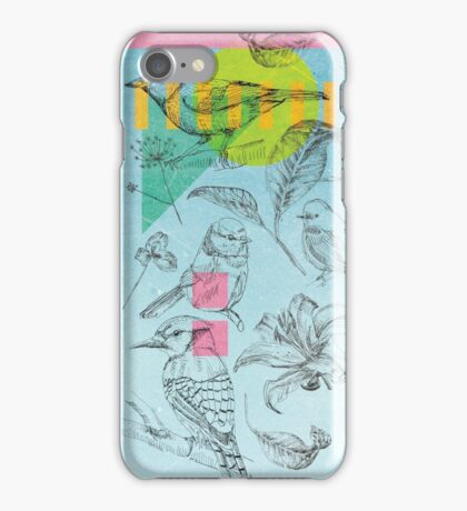 Birds, Flowers, Nature, Botanic, Blue, Sketch, Leaves iPhone Case/Skin