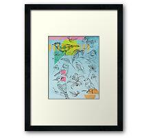 Birds, Flowers, Nature, Botanic, Blue, Sketch, Leaves Framed Print