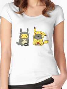 totoro and pikachu Women's Fitted Scoop T-Shirt