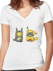 totoro and pikachu Women's Fitted V-Neck T-Shirt