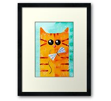 Cat and Bow Framed Print