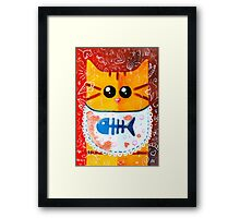 Cat and Food Framed Print