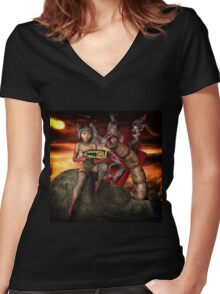 Vintage Sci-Fi 4 Women's Fitted V-Neck T-Shirt