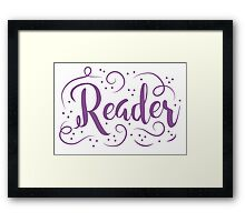 Reader (word in purple) Framed Print